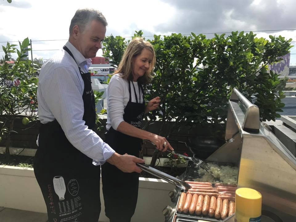 Simon and Dale cooking a quick lunch for the tribe